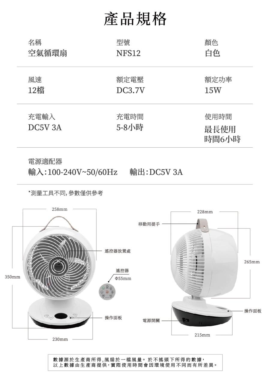 Nathome NFS12 無線空氣循環扇