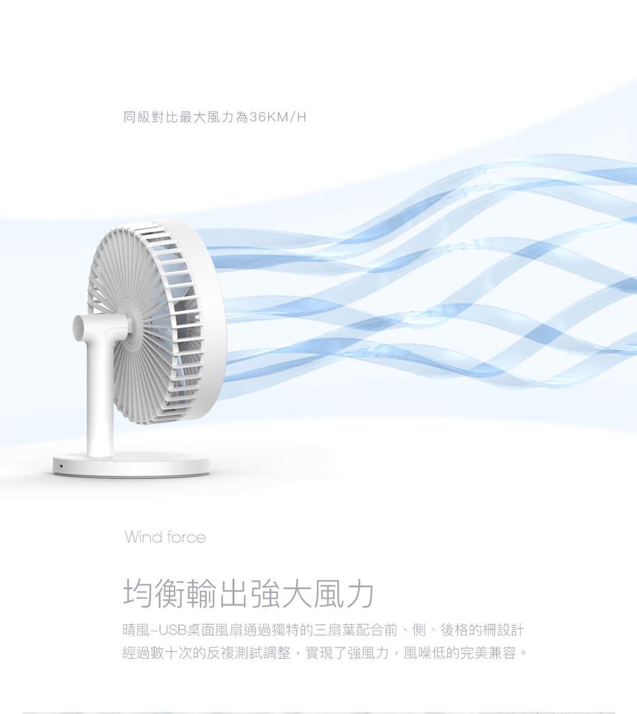 3life 晴風電風扇 居家辦公USB桌面風扇 內置電池三檔風速