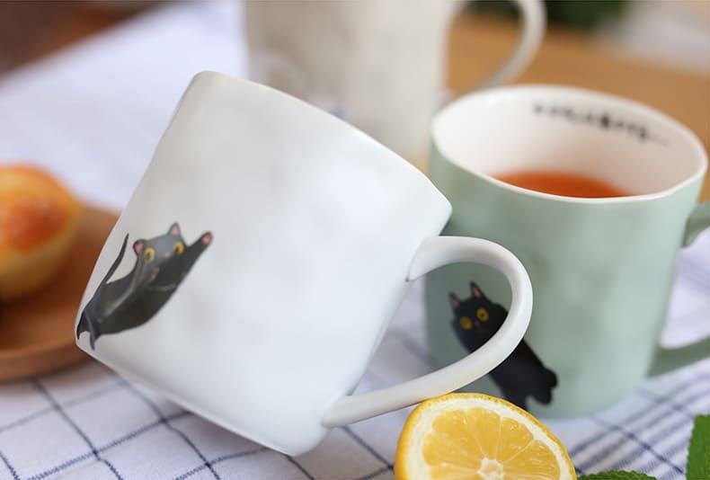日式 Zakka 手工燒制 可愛陶瓷貓咪杯