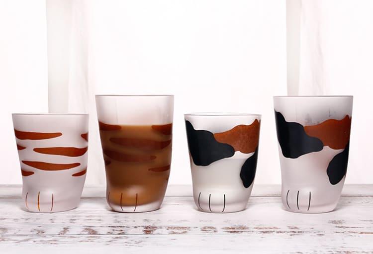 可愛立體玻璃貓爪杯