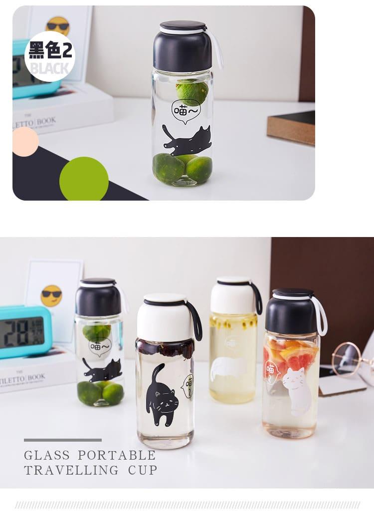 日系簡約貓咪玻璃水樽