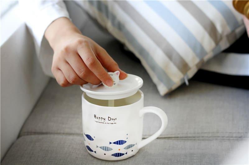 日式Zakka貓咪魚兒陶瓷杯