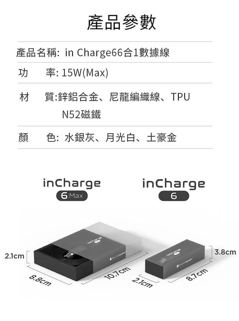 ROLLING SQUARE inCharge 6 六合一充電線