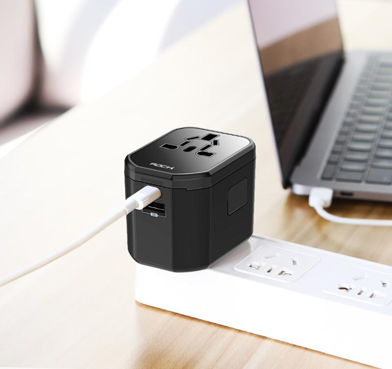 Rock T20多功能轉換插頭旅充 PD快充 QC3.0旅行充電頭 美/澳/歐/英轉換頭 多國萬用插座