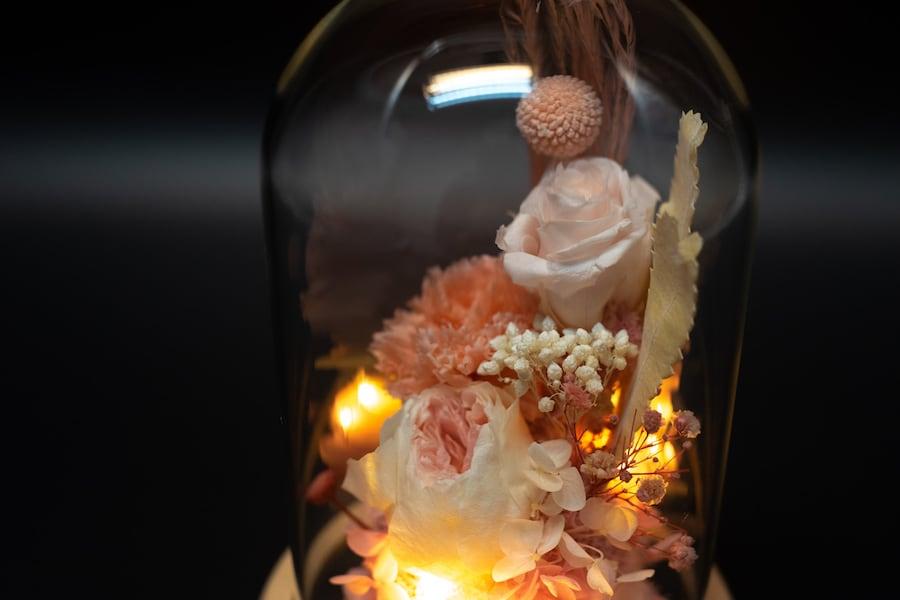 永生玫瑰花玻璃罩LED燈