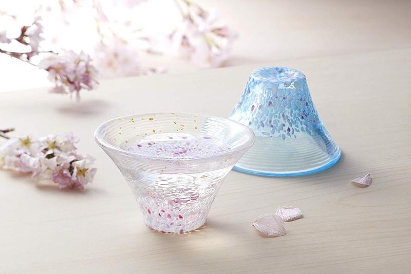日本富士山 淡櫻、晴櫻 玻璃清酒杯木盒裝(日本直送)