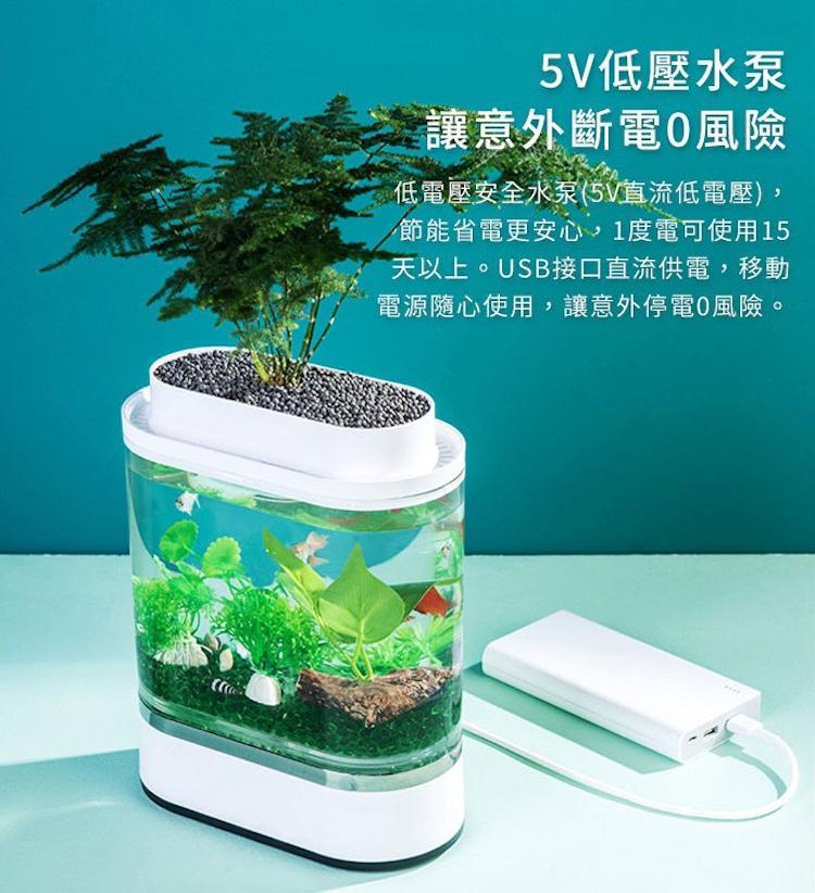 小米有品 畫法幾何 迷你懶人魚缸 自帶氧氣泵 小米魚缸 可拆卸擋板 分層造景