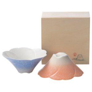 日本美濃燒櫻花富士山陶瓷碗木盒套裝