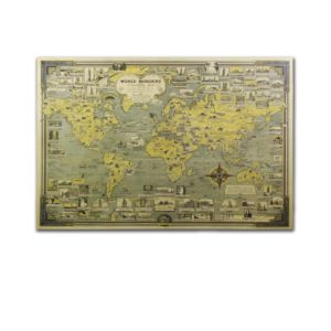 世界建築奇蹟地標地圖牛皮紙海報