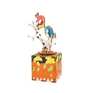 Robotime 八個音符的狂想 DIY 木質 音樂盒 枝頭雀鳥 AM301 As time goes by