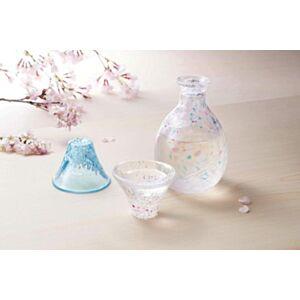 日本富士山 淡櫻、晴櫻 玻璃清酒杯連酒壺木盒裝(日本直送)